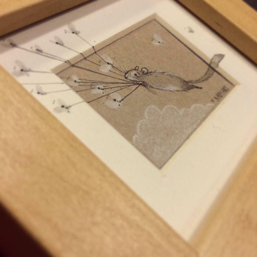 Chinchilla Flight - Pencil Illustration By Nadyart