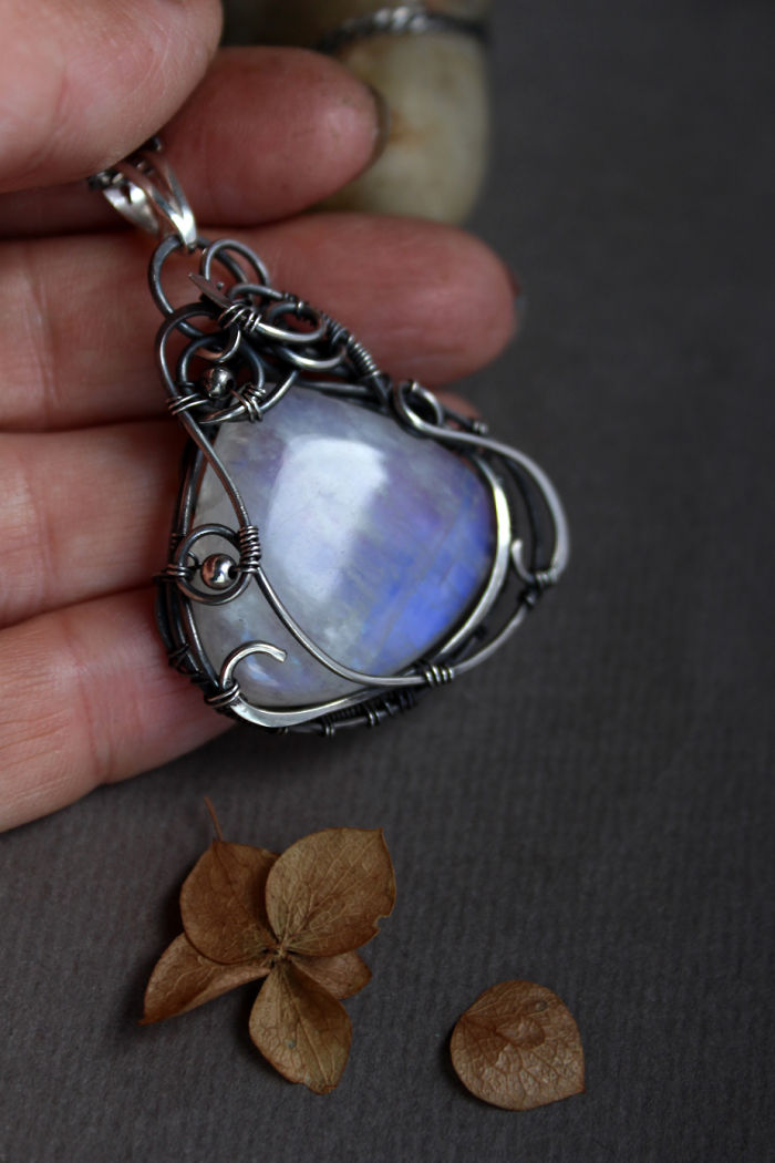 Large Moonstone Wire Wrapped In Silver