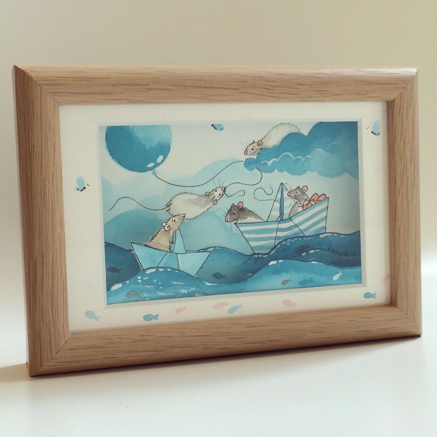 Paper Boats - Water Colour Painting With Paper Cut By Nadyart