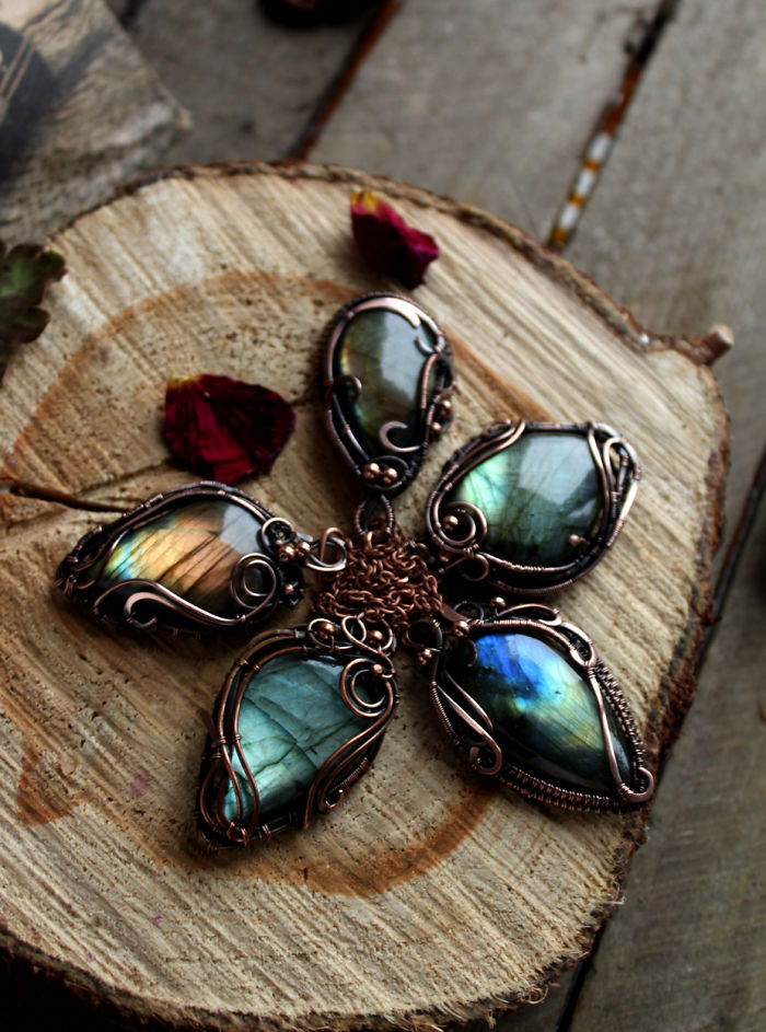 Copper Wire Wrapped Labradorites
