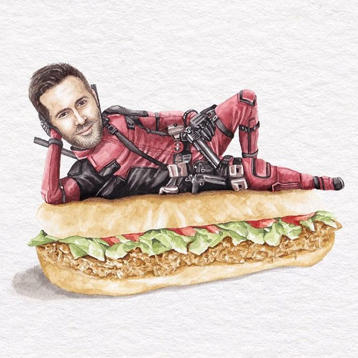 Ryan Reynolds On A Chimichanga Sandwich