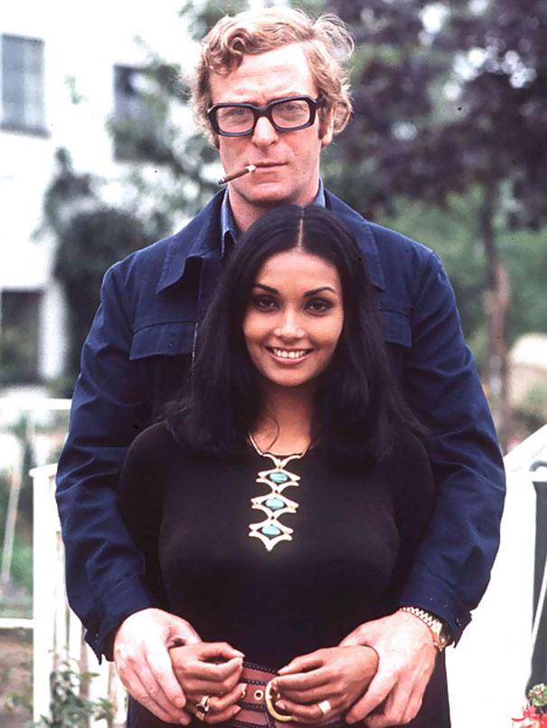 40-Year-Old Michael Caine With His Second Wife Shakira, 1973