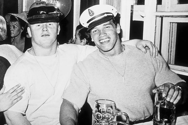 20-Year-Old Arnold Schwarzenegger Poses With A Friend At Oktoberfest In Munich, 1967