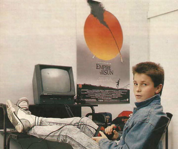 Young Christian Bale Playing With His Amstrad Computer