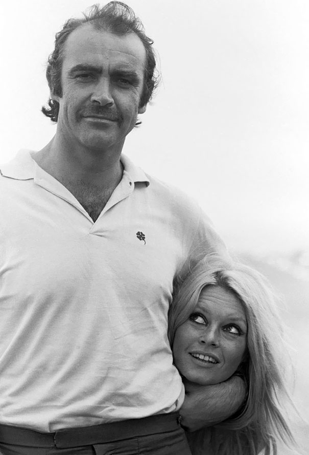 """Sean Connery And Brigitte Bardot Meet For The First Time In Deauville, 1968, Before The Filming Of """"Shalako"""""""
