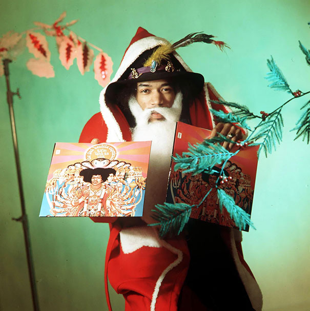 Jimi Hendrix Dressed As A Santa Claus For A Vintage Advert, 1967