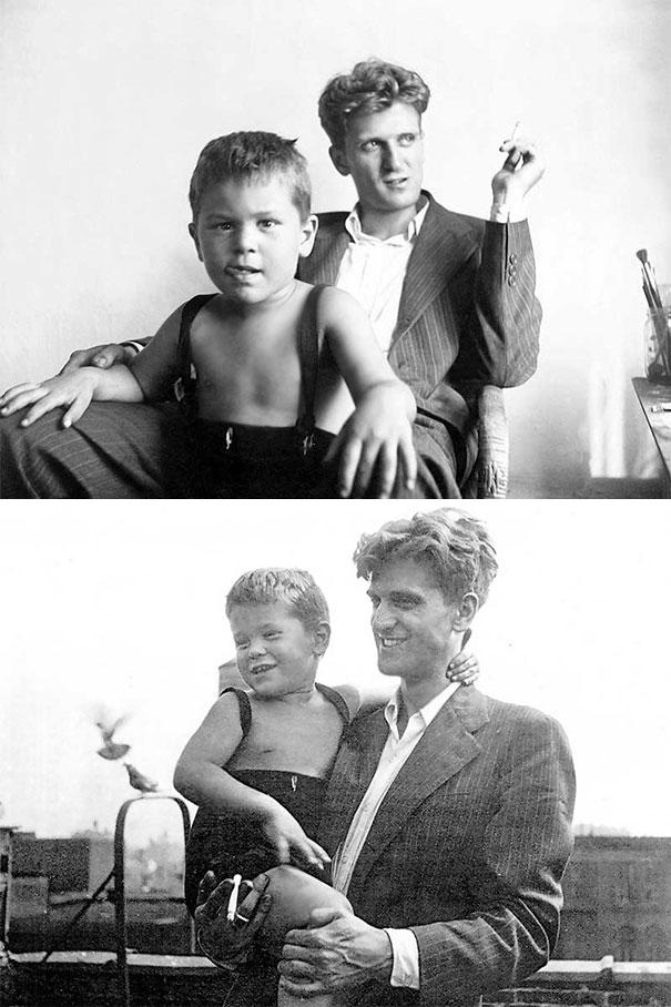 3-Year-Old Robert De Niro With His 24-Year-Old Father Robert De Niro Sr., 1946