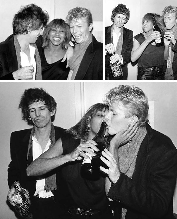 Keith Richards Of The Rolling Stones, Tina Turner And David Bowie At The Ritz, NYC, 1983