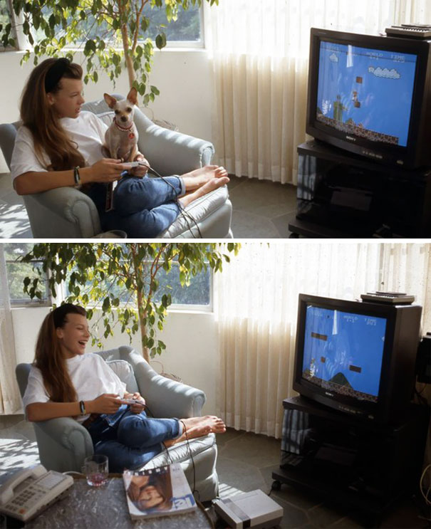 12-Year-Old Milla Jovovich Playing Super Mario Bros On Her Nintendo With Her Dog Doc