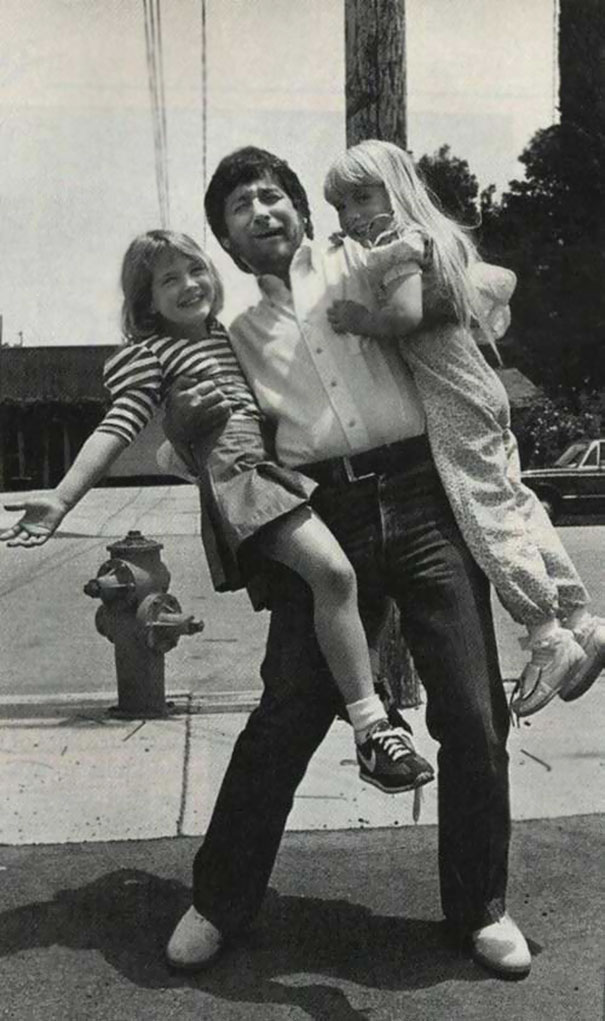 Steven Spielberg With 7-Year-Old Drew Barrymore And Same Age Heather O'Rourke Between Filming E.T. And Poltergeist, 1982
