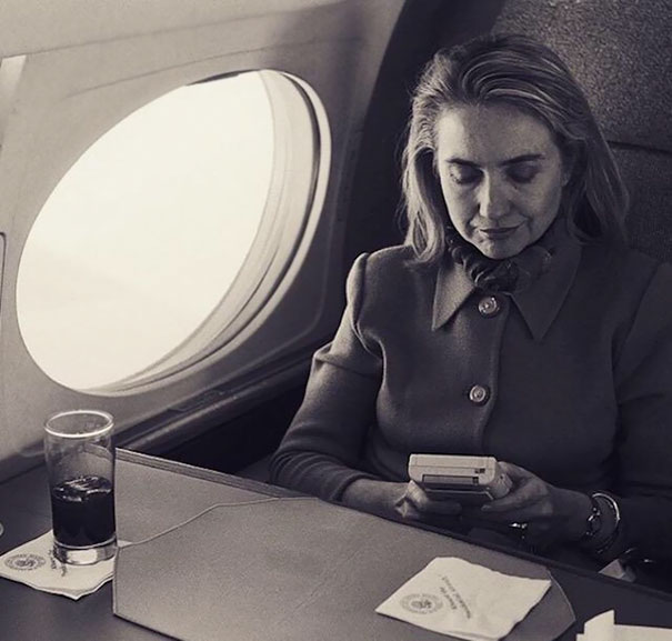 First Lady Hillary Clinton Playing Game Boy On A Flight From Austin To Washington, 1993
