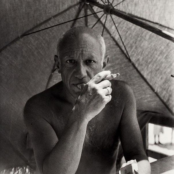 Pablo Picasso Smoking A Cigarette On The Beach, 1947
