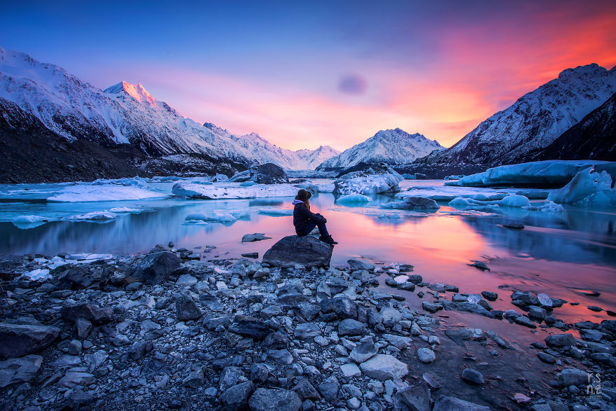 Incredible Skies At Sunrise At Tasman Glacier Lake, Mount Cook National Park