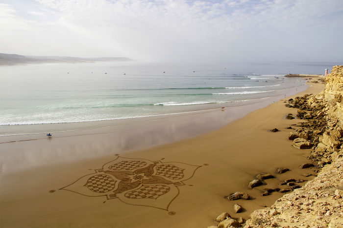 I Created This Sand Art During A Beautiful Sunrise In Morocco