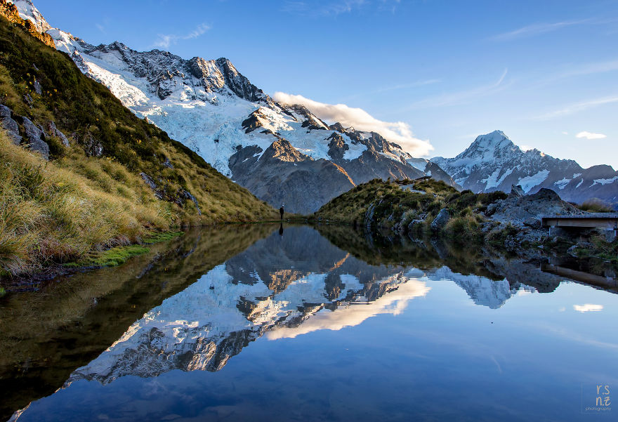 Reflective Moments At Sealy Tarns With Mount Sefton And Mount Cook, Nz