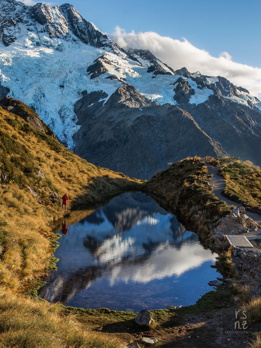 Mount Sefton Reflecting In The Sealy Tarns, Mount Cook National Park