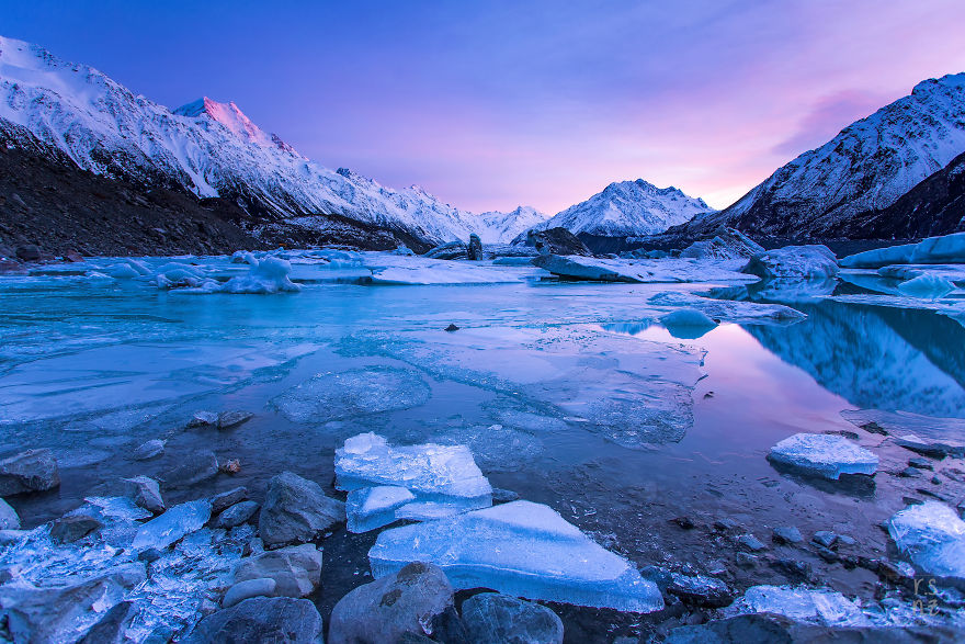 The Tasman Glacier Terminal Lake In The Midst Of Winter, Mount Cook National Park, Nz