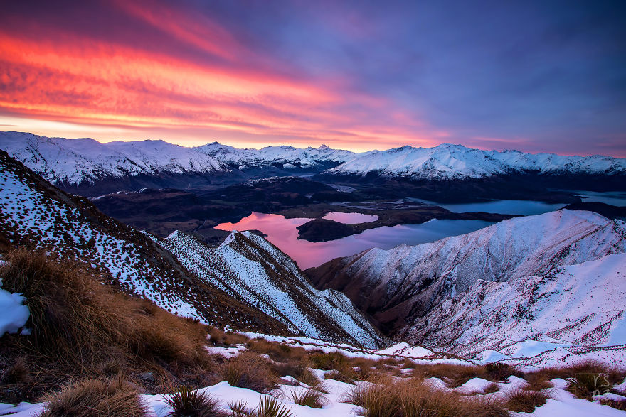 The Incredible View From The Summit Of Roys Peak At Sunset