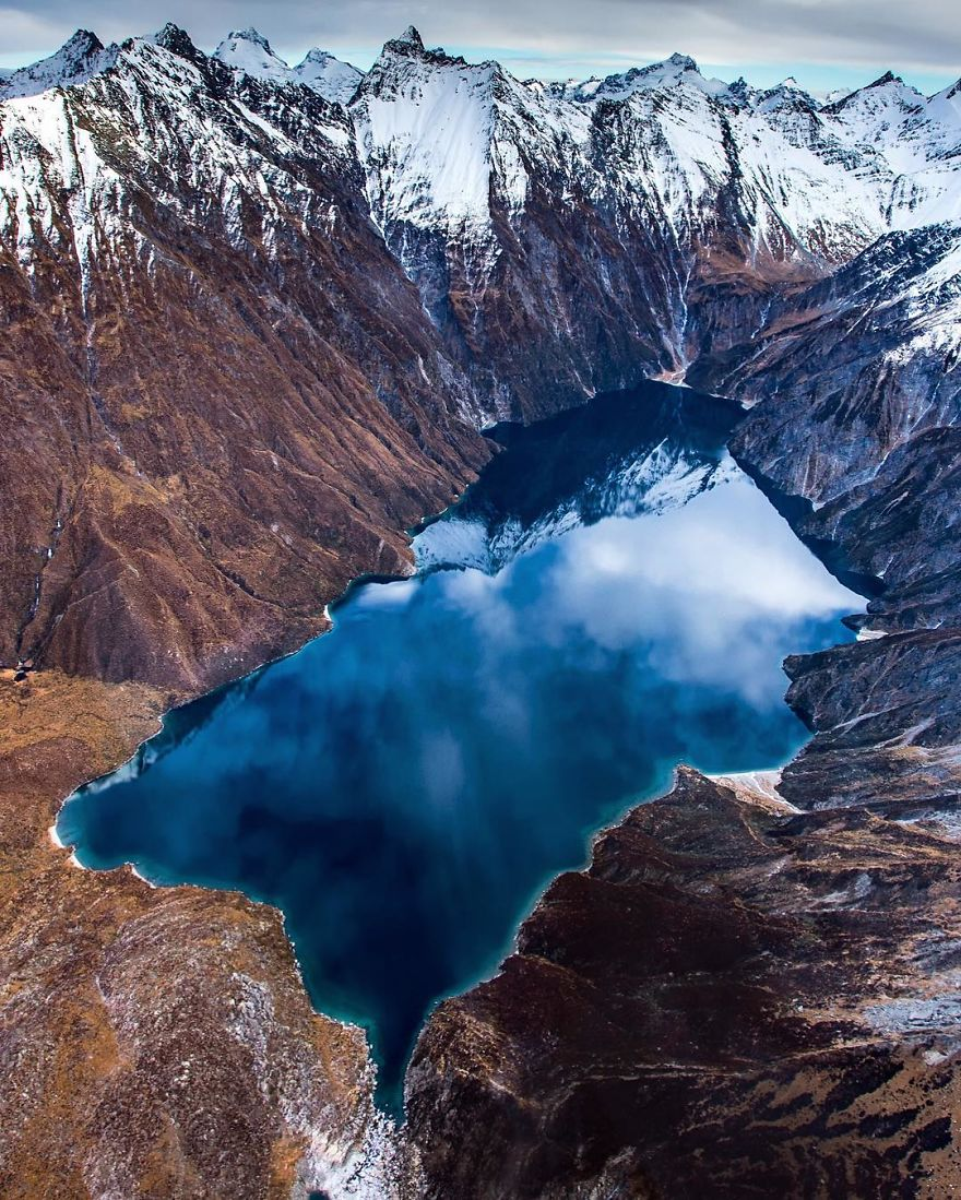 Front On View Of Lake Lochnagar From Above