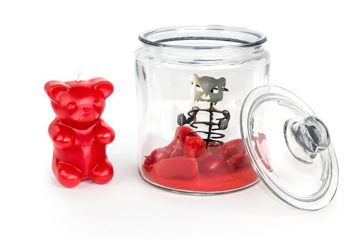 My Gummy Bear Candle Reveals A Hidden Skeleton When It Melts