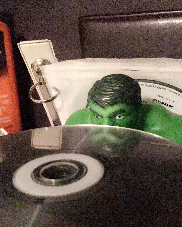 The Reflection Made This Hulk Look Like He Has A Mustache And A Beard