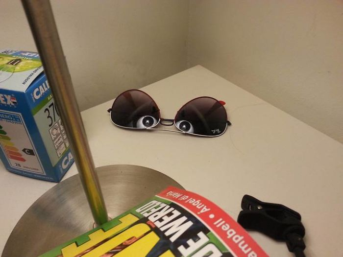The Reflection Of A Lamp In My Sunglasses Made It Look Like Someone Was Watching Me