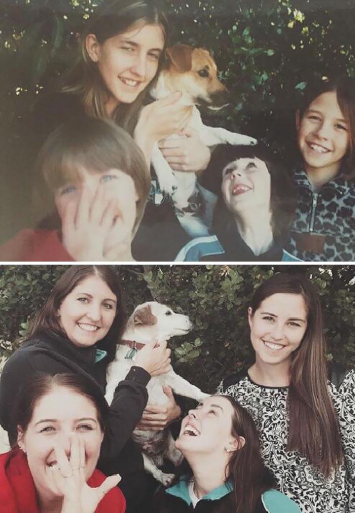 Hemos recreado Nuestra foto preferida con nuestro perro de 16 años antes de ponerlo en reposo