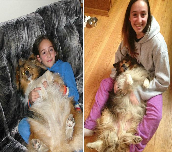 Yo y mi perro 2005 Vs 2014. Algunas cosas nunca cambian