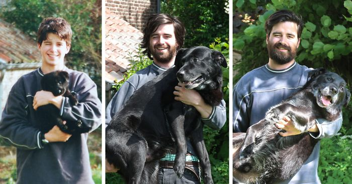 Guy Recreates Photo With His Dog 15 Years Later To Say Goodbye
