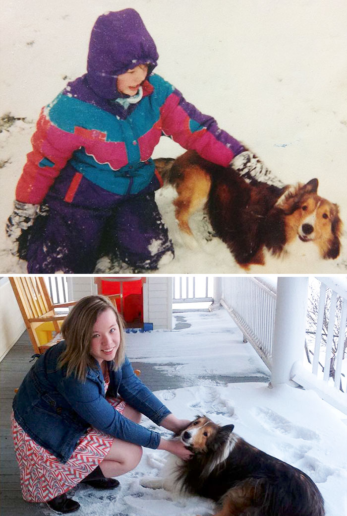 My Girlfriend And Her First Dog. 11 Years Apart