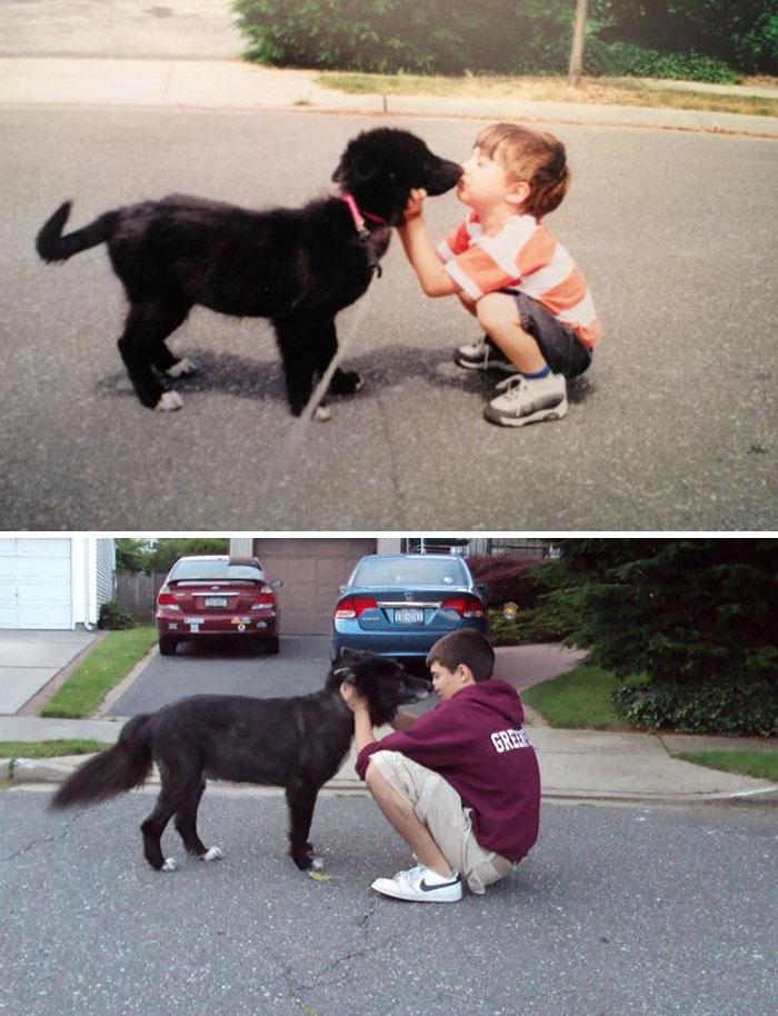 El perro y el pequeño hermano de 13 años entonces y ahora