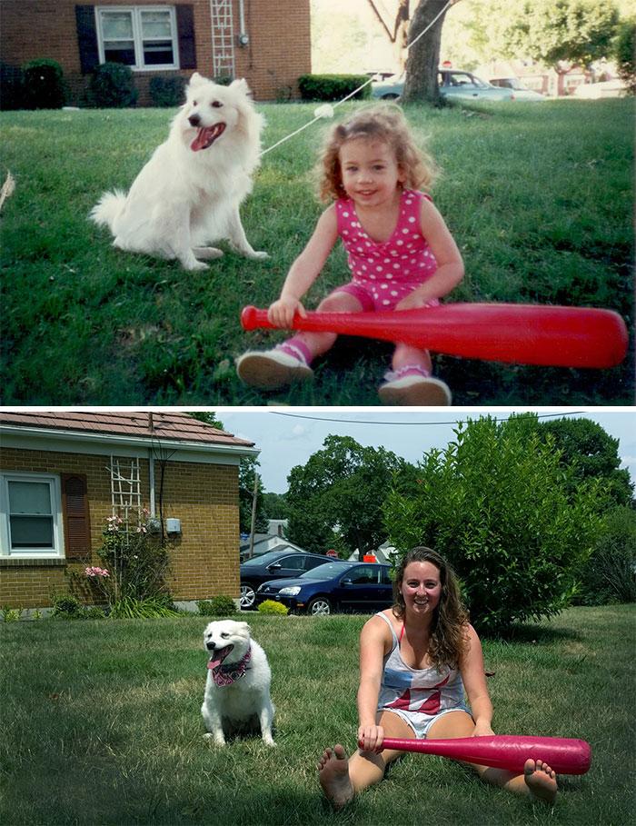 Yo y mi perro.  1994 y 2016