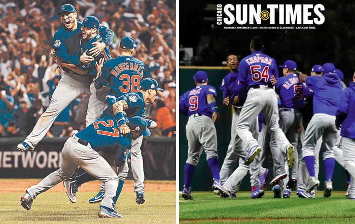 Can You Spot The Difference? Chicago Tribune VS. Sun-Times Covers After The Cubs' World Series Win