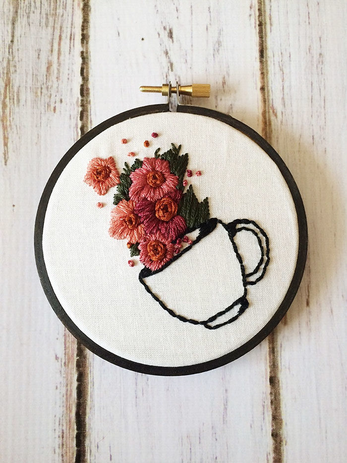 Coffee Floral Embroidery