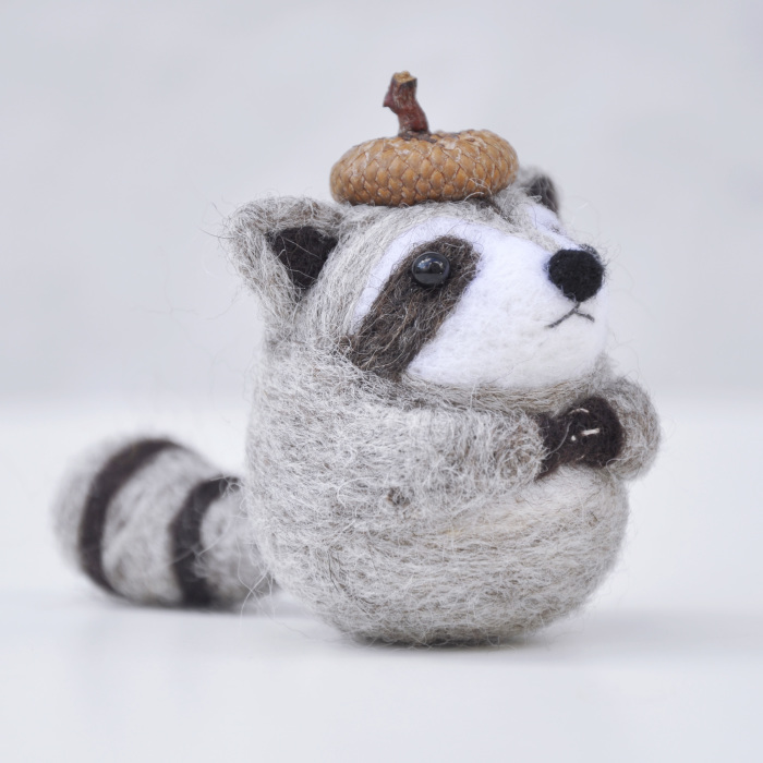 I Make Needle Felted Animal Ornaments Wearing Tiny Acorn Berets