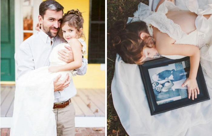4 Year Old Girl Honors Her Late Mother By Wearing Her Wedding Dress In Beautiful Photo Shoot