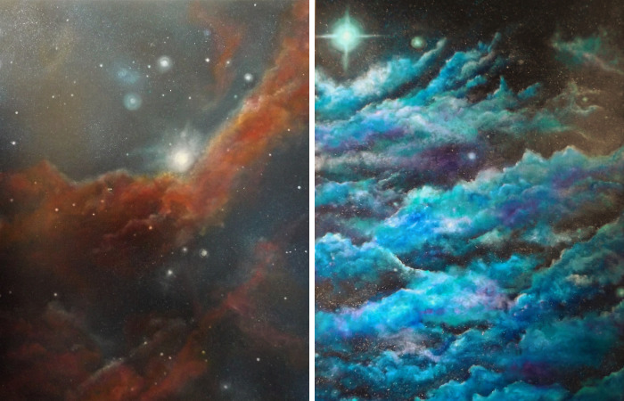 I Create Cosmological Paintings Inspired By Nebula Photos In My Step-Daughters Bedroom