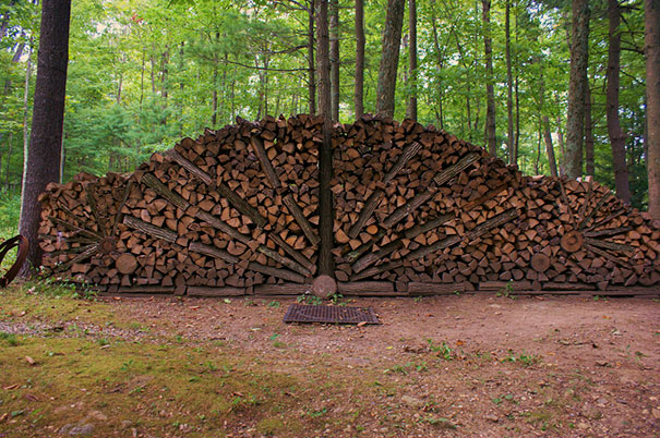 Peacock Style Wood Pile