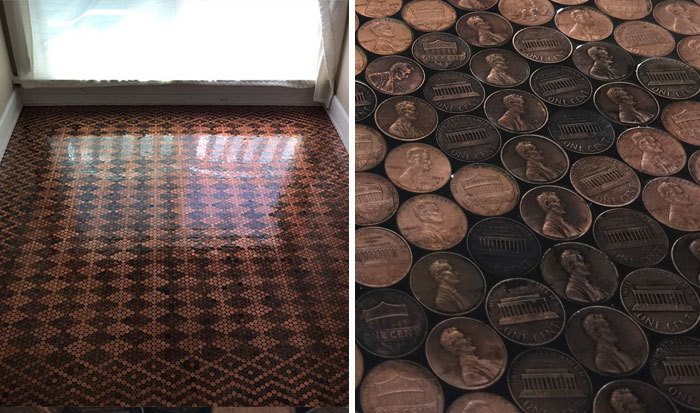 Woman Uses 13,000 Pennies To Renovate Old Floor And Turn It Into Stunning Patterns