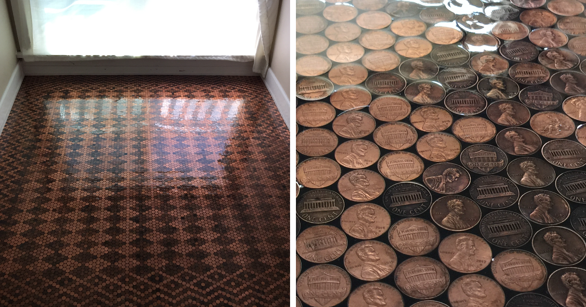 Woman uses 13 000 pennies to renovate old floor and turn for Floor of pennies