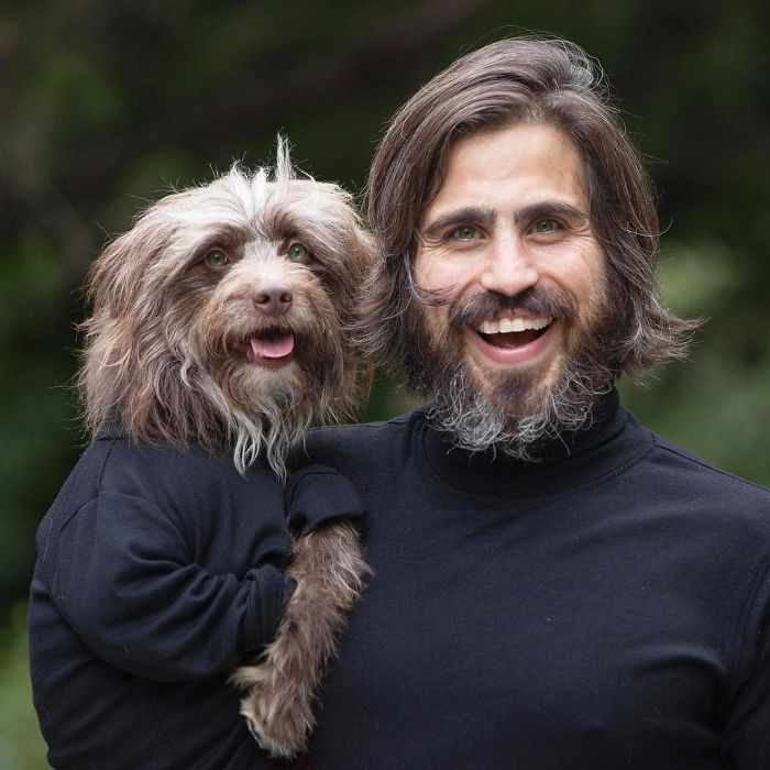 Dog And Human Dressed In Matching Outfits