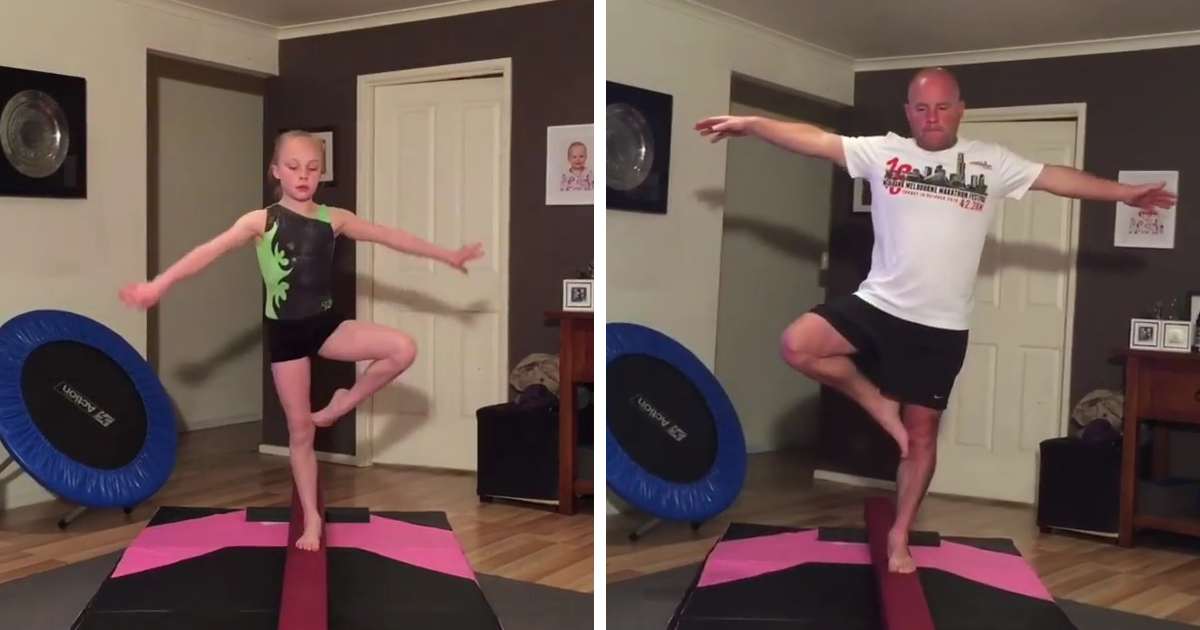 Dad Tries Gymnastics To Bond With His Daughter