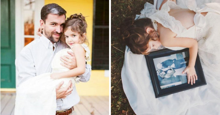 8a046a4f664 4 Year Old Girl Honors Her Late Mother By Wearing Her Wedding Dress In  Beautiful Photo Shoot