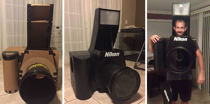 Guy Makes Fully-Functional Nikon Camera Halloween Costume, Spends Whole Evening Taking Pics