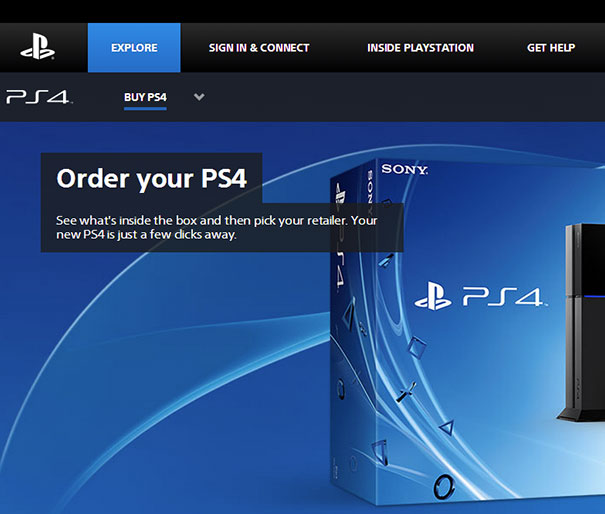 The Letter Spacing On The Sony Website Should Probably Be Revised