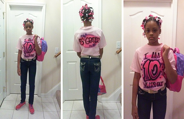 Janiya Was Caught Pretending To Be 18 Years Old Online. Her Dad Made Her A Special T-Shirt And Made Sure They Circulated The Internet