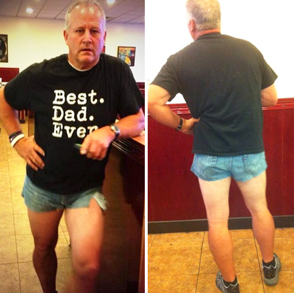 Dad Wore Short Shorts To Show Her How Ridiculous It Is To Wear It