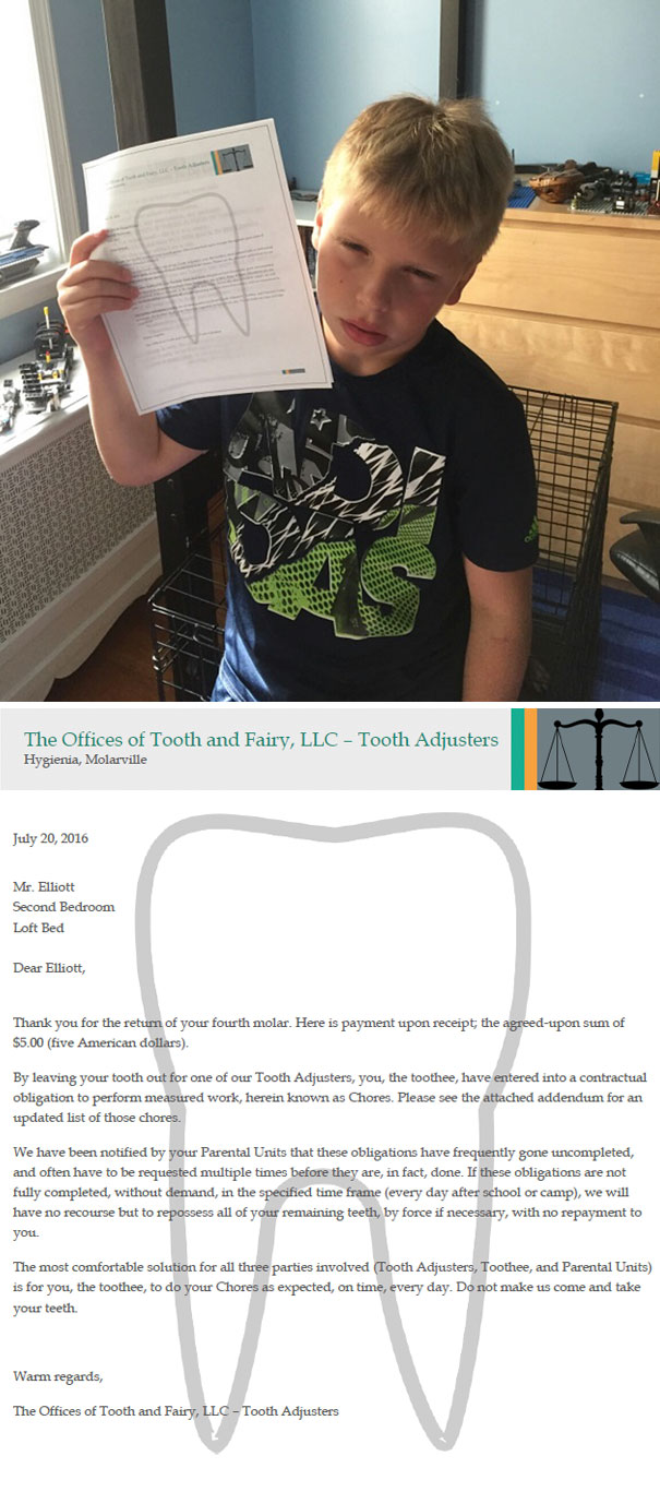 Me And My Wife Decided To Find A New Way To Convince Our Son Do To His Chores By Getting The Tooth Fairy To Ask Him