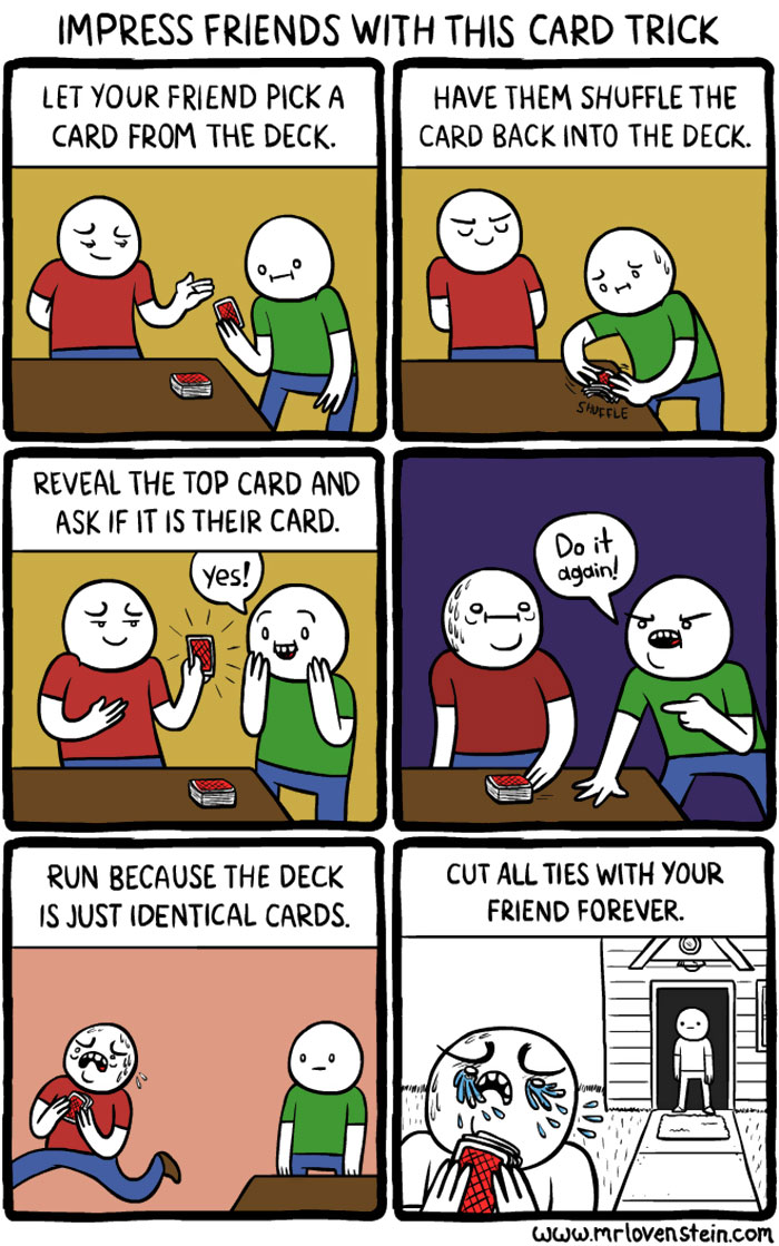 funny comics trick card memes dark hilarious humour humor lovenstein meme mr mrlovenstein unexpected jokes cartoons funniest sunday gag brutally