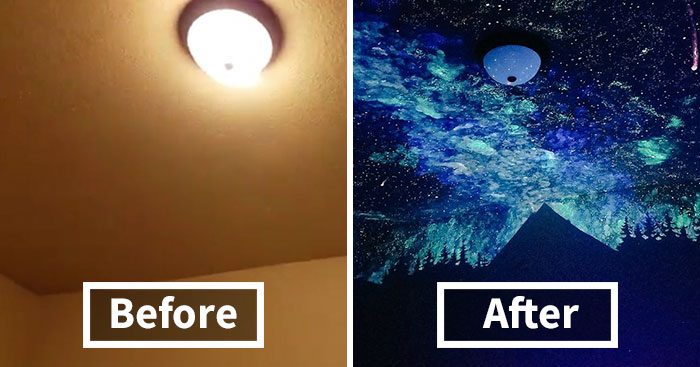Woman Creates Glow-In-The-Dark Galaxy Painting For Boy Who Couldn't Fall Asleep, Here's His Reaction